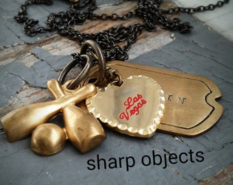 Kingpin - stamped brass tag, vintage Las Vegas charm & bowling legue metalwork charm, brass chain necklace
