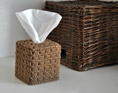 Brown Tissue Cover Bathroom  Nursery Decoration  Neutral Home Decor  Granny Chic