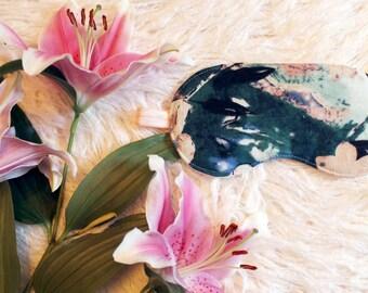 Abstract Floral Linen Modern Sleep Mask In Hunter Green, Blue, Peach Handmade Gift for Her