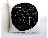 Fear Not. Comforting Constellation. 16x16 Square Linen Pillow. Hand Woodblock Printed. Comes Stuffed.