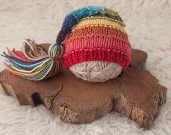 Rainbow Tassel Hat  - Newborn Size, Made To Order