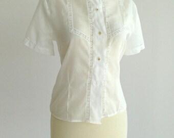 Vintage 1950s Blouse...PRINCESS FAIR Sheer Ivory Cotton Blouse