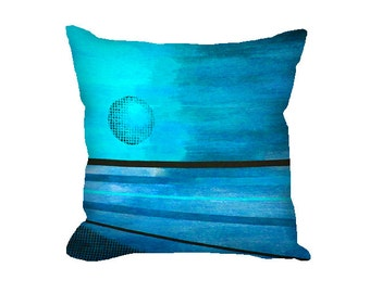 Square Pillow Cover abstract moon design in aqua and blues, blue throw pillow covers in 16 x 16, 18 x 18 inch, abstract art pillow