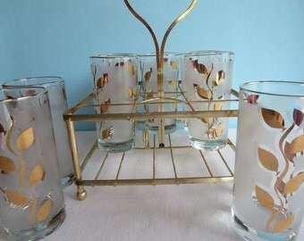 Vintage Gold Frosted Glasses - Tumblers - Drinking Glasses