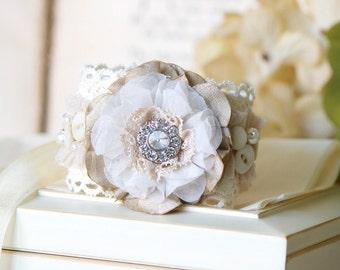 Wedding Corsage, Floral Wrist Corsage, Vintage Button Bracelet, Textile Cuff, Bridesmaid Jewelry, Womens Cuff Bracelet, Shabby Chic Jewelry