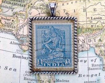 Vintage India Postage Stamp Bodhisattva Necklace Pendant Key Ring