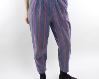 Vintage 80's striped GAP pants, pleat front, roomy seat, slightly tapered, lightweight cotton, purple, green, orange - Med / Lg