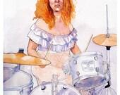 Woman Drummer Art Print - Watercolor