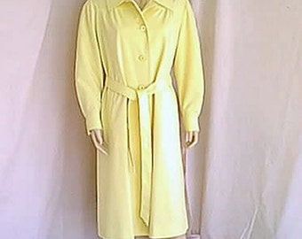 Vintage 1970s Water Repellent Yellow Midi Coat with Self Tie Belt by Weatherbee Fashion Original