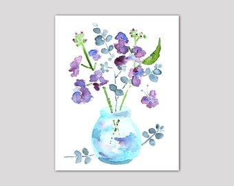 watercolor flower, Large bathroom art, bathroom wall decor, 11x14 Print of watercolor painting, purple, butterfly art, blue - Keeping Spring