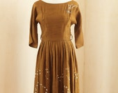 1960s Perfect Autumn Holiday Dress - Size S/M