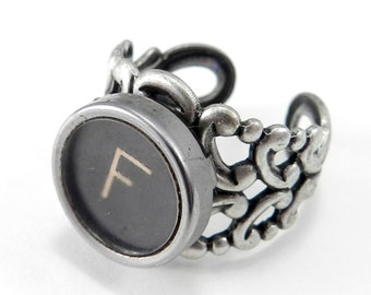 Typewriter Key Initial RIng  - Steampunk Ring -  Letter F Ring - Name Ring - Custom Initial Ring - Silver Adjustable Ring