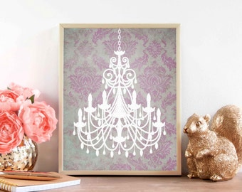 Damask Pink and Grey Chandelier Shabby Chic Digital Art Print