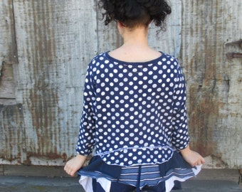 Recycled Sweater Recycled Clothes Women Upcycled Clothing Blue White Polka Dots Stripes Redesigned Women Top Eco Friendly S M L Long Sleeve