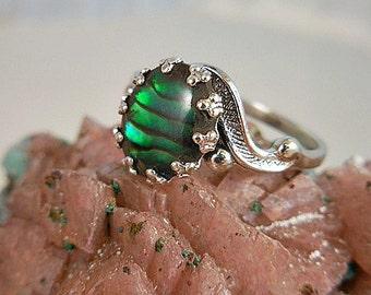 Green Paua Shell Sterling Silver Ring