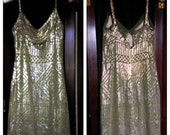 Flapper Dress. 1920s Assuit Egyptian Revival stunning RARE solid metal. Silver Art Deco pattern on Absinthe Green tulle.