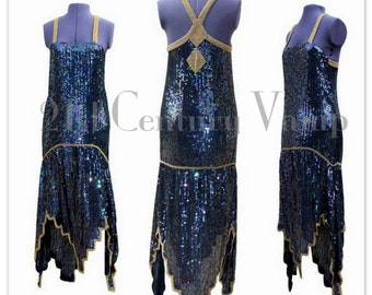 Art Deco Studio 54 Flapper Dress. Covered in Iridescent Sequins with Gold details.
