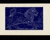 1895 Antique STARS CHART print, leo, Lion, Constellations. original vintage astronomy lithograph + 100 years old