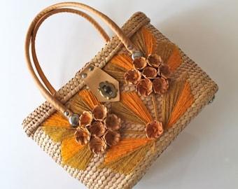 vintage straw purse - SUNRAY woven souvenir bag