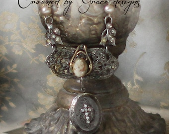 Unforgettable~vintage assemblage necklace  cameo cross rhinestone one of a kind repurposed crown by grace