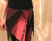 Festival, Tribal, ATS bellydance Seaweed skirt and coverup  in terracotta and chocolate- XL