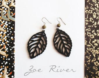 Black and olive green leaf earrings super lightweight made from laser cut wood