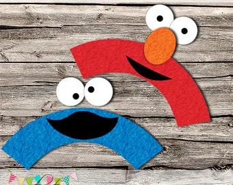 Elmo & Cookie Monster  Cupcake Wrappers - Printable - DIY - Digital File - INSTANT DOWNLOAD