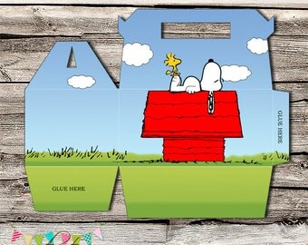 Snoopy Inspired Gift Box - Thank you Box - Favor Box - Printable - DIY - Packaging- Gable Box - INSTANT DOWNLOAD