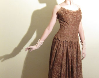 Vintage 1950s Lace Party Dress / 50s Evening Dress with Spaghetti Straps Coffee Chocolate Brown / Small