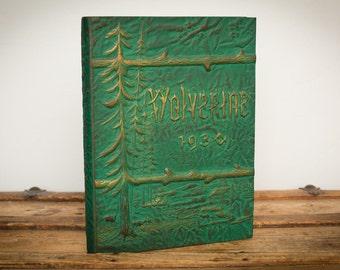 1930 Michigan State College Yearbook, Embossed Woodland Cover, East Lansing University Book, Vintage 30s