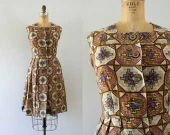 1950s Egyptian Gaze cotton day dress / 50s aztec beauty