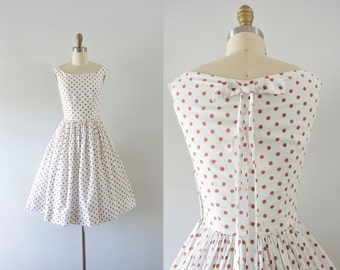 1950s Boardwalk Stroll cotton dotted dress / 50s sweetheart