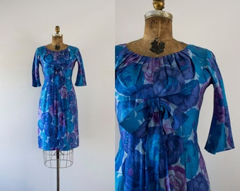 S A L E . . 1950s Blueberry Bloom silk party dress / 50s Jerry Gilden