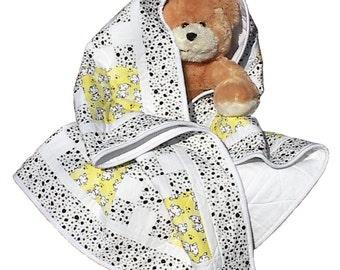 Dalmation Puppy Dog Flannel Baby Quilt, handmade OOAK blanket infant nursery crib, 37 x 49
