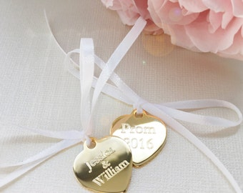 Custom Charm for Garter Boutonniere Ring Pillow or Bouquet Gold or Silver Plated Engraved Heart Tag personalized - names dates prom wedding