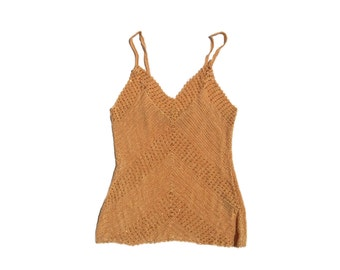 crochette knit sweetheart V neckline spaghetti strap 90s mermaid style vintage early 1990s club kid sleeveless tank top women small S peach