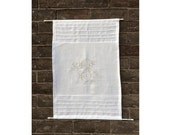Linen Cabinet Panel, Personalized Monogram Curtain, White Sidelight Curtain, French Door Curtain, Double Rod Pocket