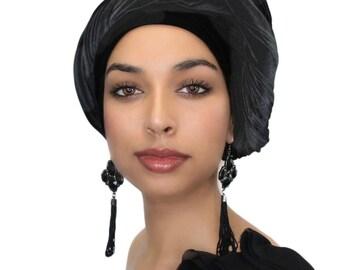 Black Velvet Turban, Head Wrap, Chemo Hat, Alopecia Scarf, Hijab, One Piece Wrap 332-03