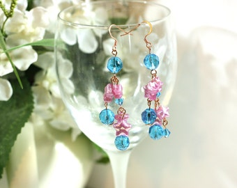 Pink Stars and Blue Glass Long Beaded Earrings - Handmade Bright Copper Earrings - Womens Fashion Jewelry - Trending Style