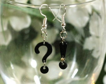 Black Exclamation Point and Question Mark Charm Earrings