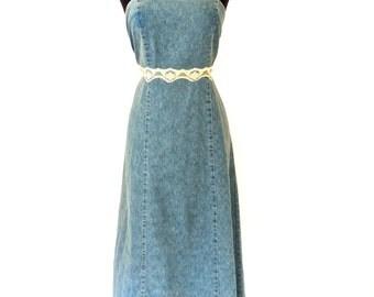 SALE vintage denim maxidress - early 90s jean/lace long dress