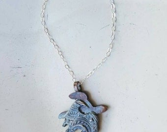 Ocean Wave Necklace Fine Silver Honu Nalu Necklace handmade in Hawaii by Mahina Spirit