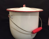 Enamel Bucket, Pot, Pail With Lid, Wire And Red Wood Bale Handle, Retro Diaper Pail, Kitchen Red And White