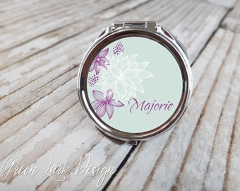 Personalized Gift For Bridesmaids Compact Mirror - Modern Floral in Purple and Light Blue