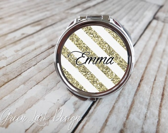 Bridesmaid Gift - Personalized Compact  Mirror - Gold Glitter Stripe