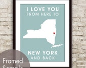 New York Poster Print Map Wall Art - Unframed (featured in Slate Blue) / I Love You From Here to New York and Back-Custom Colors