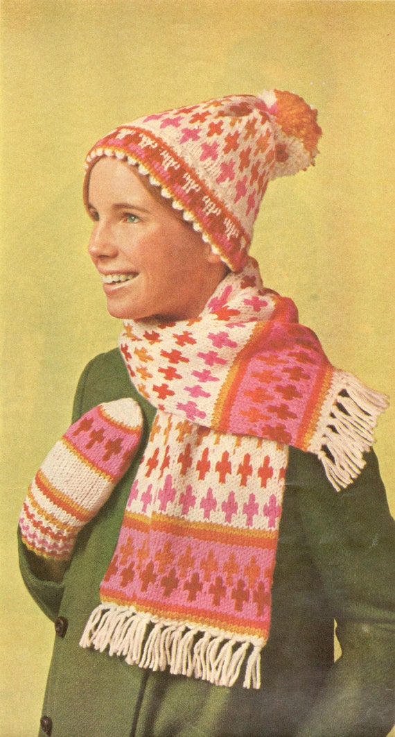 Vintage knitting pattern fair isle nordic hat scarf mittens winter ...