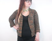 1970s Vintage Sweater // Orange and Forest Green Ribbed Cardigan // Acrylic Open Front Fold Over Sweater