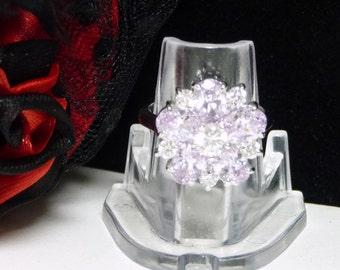 Pale Lavender & Sterling Flower Ring - Silver Designer Signed RSC 925 - Modernist Cubic Zirconia - Oval CZ - Vintage Pre 1997