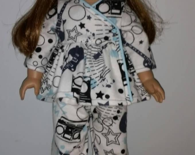 "Musical design flannel doll pj's fits 18"" dolls like American Girl Dolls"